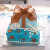 "Shower Gifts 10"" sq and 7""square stacked both covered with fondant. Pastillage bow, fondant decorations."