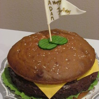 Yum!!!! Birthday Burger for a friend, did red velvet hamburger- he likes his meat rare!!