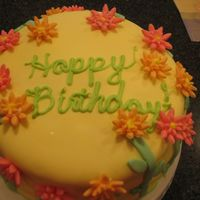 Birthday Cake I made this cake for my mom's birthday. It was only my 2nd or 3rd fondant cake. Hope you like it!