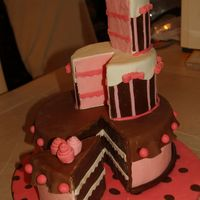 Pretty In Pink And Brown Fun cake I did wanting to explore with the colors and the design/structure. It was fun!