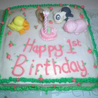 First Attempt 1St Birthday this was my first attempt at decorating a cake, the animals are made with fondant and the little cake in the middle, butter cream icing was...