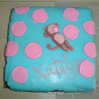 Monkey Bubbles 8Th Birthday Monkey laying on blue with pink circles