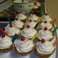 Sundae Cupcakes I made these for my son to take to daycare on his 3rd birthday. I baked cupcakes and then put them into the waffle bowls. The straws are...