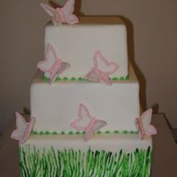 Butterfly Cake dummy cake wrapped in fondant, with fondant butterflies, the grass was hand painted