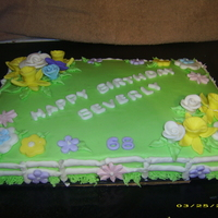 Garden Cake Made this for a lady who is in a nursing home. She loves daffodils and other flowers.