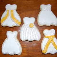 Sarah's Wedding Dress Cookies NFSC with Antonio74's RI. Fondant and pearlized sprinkle accents.