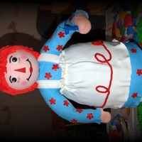 Raggedy Ann Made for my daughter's birthday. She is 2 1/2 feet tall with a pvc structure to support her. Ran out of modeling chocolate so her...