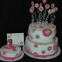 Flowers   Cake to match invitation for a 1st bday. Thanks for looking.