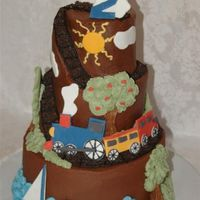 Choo Choo Mountain  I made this for my son's 2nd bday. The track was made of crushedoreos which he loved. Accents are buttercream and fondant. Thanksfor...