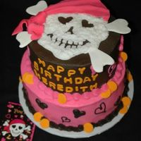 Girl Pirate Skull   Cake to match the invitation. I got some of the ideas from this site. Thank you!!!