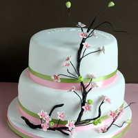 "Engagement Cake   Cherry blossom 10 and 8"" rounds for an engagement party."