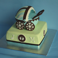"Baby Shower Cake   9"" square cake, for the top part - the stroller, I used sports ball pan. TFL"