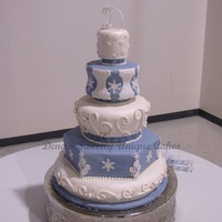 Snowflake Wedding Cake This is all cake for a real wedding. Design inspired by Bronwen...bride brought me pictures and wanted snowflakes instead of flowers on the...