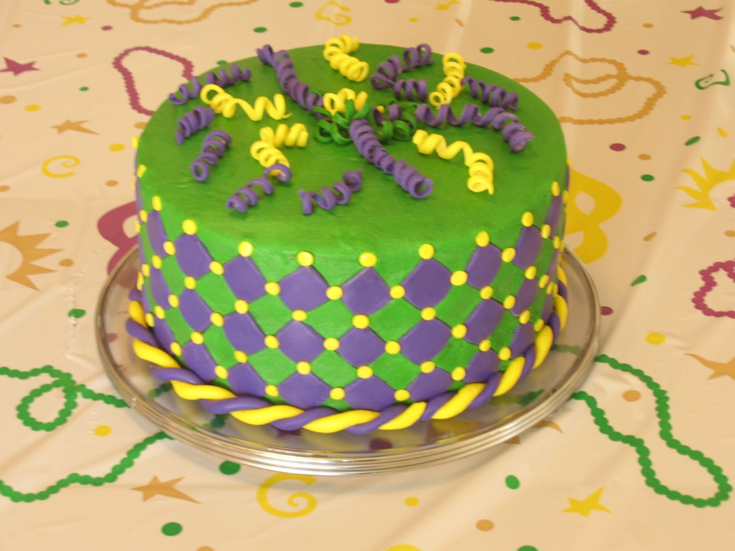 Mardi Gras Theme Birthday   Practice cake for daughters birthday. She came up with the design. Hopefully the actual party cake will look better!