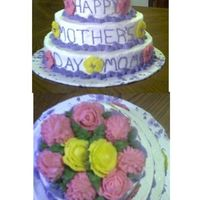 Tiered Mother's Day Cake This is the first tiered cake I have made, three flavor of cake (Strawberry, Lemon, Yellow) with classic Buttercream Frosting, Buttercream...
