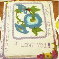 Hummingbird Bct(First One Ever) This was a strawberry 11x15 with my first ever BCT. I added dimension of the wings and leaves and flowers after I placed it on the cake. My...