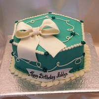 "Turquoise Cake 9"" hexagon 2-layer WASC with bc. Gumpaste bow and banner."