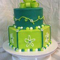 "Lime & Turquoise Bottom is 9"" hexagon and top is 6"" round. Both are chocolate with buttercream. Fondant bow."