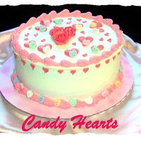 Candy Hearts White cake with raspberry filling and vanilla almond buttercream. Decorated for Valentine's Day for a family with a little boy, so I...