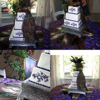 Peacock Cake Sq. 6-8-10 design on cake is replica of design on bride's dress. Hand painted then piped with purple icing and ivory dragees for...