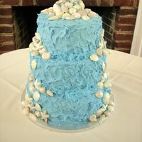 Fluffy Waves Seashell Cake Bride wanted the icing to look fluffy like waves. This was the easiest cake to ice !!! Handmade and dusted white chocolate seashells. I...