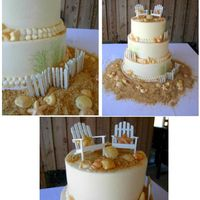 Outer Banks Seashell Wedding My first long trip cake. Trip was 4 hour delivery one way to the Outer Banks. Cake arrived in Perfect condition. I did ALL of the...