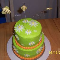 Spring Flowers Chocolate cake with twinkie filling and buttercream frosting. Bees are fondant on 20gauge floral wire. Thank you to Cakebaker for sharing...