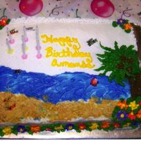 Beachy.jpg beach theme cake for my daughter.