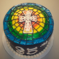 Stained Glass Cross Cake My first time doing a stained glass cake. This was for our retired bishop's 85th birthday. The cake was Chocolate Coconut Rum with...