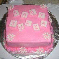 Baby Blocks One of my first square cakes.. need to work on sharper edges. This was just a quick cake for a friend's small baby shower.