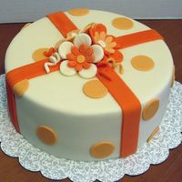 Orange & Cream A dreamsicle cake, & she wanted orange & cream coloring to match, & dots and stripes. I wasn't sure how that combo was...