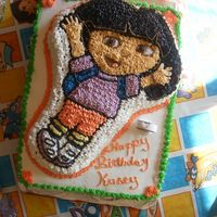 Kasey's 2Nd B-Day Cake Yellow cake w/buttercream frosting for my cousins daughter who turned 2 and loves Dora. Was a very time consuming cake but in the end the b...