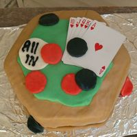 Poker Table Cake I made this cake for my husband's birthday. I copied it from a cake I saw on line. It is a pina coloda cake with homemade marshmellow...