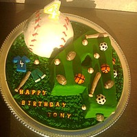 Sports Cake   My sons bday cake. He helped me to decorate :-)