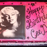 Marilyn airbrushed buttercream, edible image, fondant stars