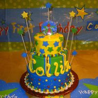 1St Birthday Cake This cake was made for my grandson's 1st birthday. He had a matching smash cake of course.