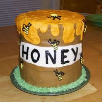 "Honey Pot This cake was made for a friend who has nine grandchildren that call her ""Honey"". There are nine bees representing her..."