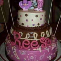 Cowgirl Cake Chocolate Strawberry, Vanilla cake with buttercream icing and fondant letters
