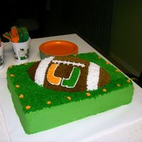 University Of Miami Cake I made this cake for my grandson's 13th birthday. He and I came up the design together and then baked and decorated it. It was fun!