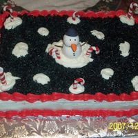 Snowman With Candy Canes   chocolate cake buttercream filling and icing. satin ice snowman and candy canes