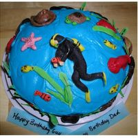 "Fondant Scuba Diver With Fish, Chocolate Shells And Crabs I made this 8"" quick cake for one of my Best Friends DH. They recently were certified to scuba dive so I though it would be fun. Thank..."