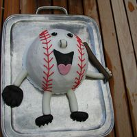 Baseball Dude Fondant Face On Ball I made this for our oldest's baseball end of year party. I made an ice cream filled cake for the first time and I was super nervous...