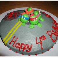 "Tmnt Turtle Fondant On Buttercream Street This is a small 8"" cake for my 4 year olds Daycare Party. The real b-day Party is hero themed. so TMNT sort of fits in and it was fun..."
