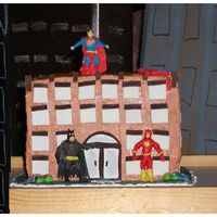 "Superhero Building Batman Superman Spiderman Flash Tmnt My 4 yrs old wanted a batman cake, we searched CC for inspiration and came upon a Superhero building by ""awsus"", so here is my..."