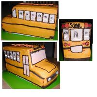School Bus Bc Fondant Carved bus. 2 9X13 cakes covered in BC with Fondant and BC accents. Each Window has a kid from last year's class and the teacher. -...