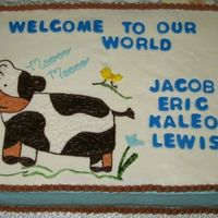 Cow Design For Baby Boy Shower The cake is iced in buttercream in white on top and blue around the sides to match the baby bedding the parents chose. The cow is the main...