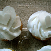 Wedding Shower Cupcakes   fondant hearts with shimmer.