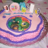 Monsters Inc. This was an attempt at a Monsters Inc. cake a few years back. It was pink instead of the traditional Monsters Inc. colors because it was...