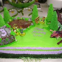 "Shreks Swamp This was fun to make! The shack is made out of graham crackers cut to the right size and glued together with royal icing. Then ""..."
