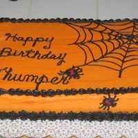 "Spider Birthday Cake This is 1 of the 2 cakes I made for my daughter for her October birthday. She wanted her nickname ""Thumper"" on the cake rather..."